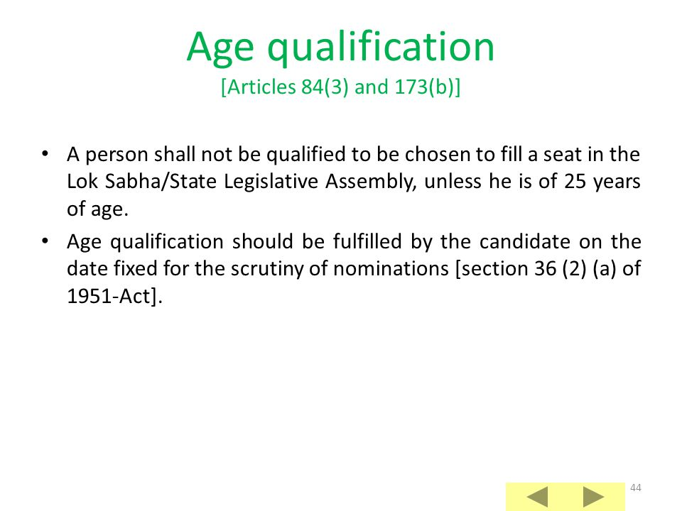 Age qualification [Articles 84(3) and 173(b)]